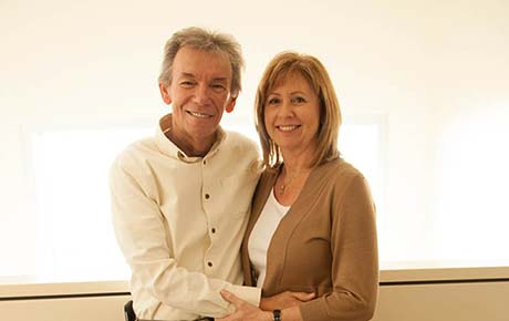 A proton therapy patient and his wife.